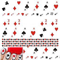 1 Sheet Playing Card A K Red Heart Spade Diamonds Poker Nail