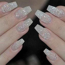 100PCS/Box Ballerina Nails Acrylic False Nails Full Cover Na