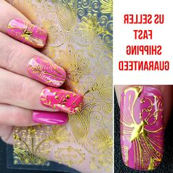 108 Design Nail Art 3D Golden Stickers Tips Decal Vinyl Free