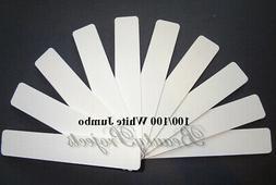 "10pc White Nail Files 100/100 Grit 7x1"" Jumbo Acrylic Nail F"