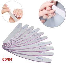 10Packs Professional Acrylic Nail File 100/180 Grit Zebra Sa