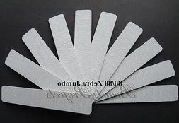 10pc Zebra Jumbo Nail Files 80/80 Grit Square 7x1 Acrylic Sa