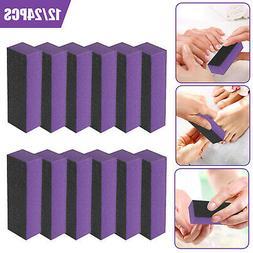 12/24x Sanding Nail File Art Polishing Buffer Block Pedicure