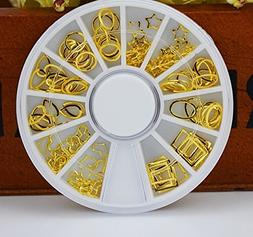 1 Pack 12-Style 3D Metal Gold Hollow Circle Square Rectangle