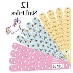 JPACO 12 PCS Professional Unicorn Nail Files 120 240 Grit Do