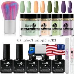 12Pcs MTSSII Dipping Nail Powder Glitter Dip Liquid Brush Fi