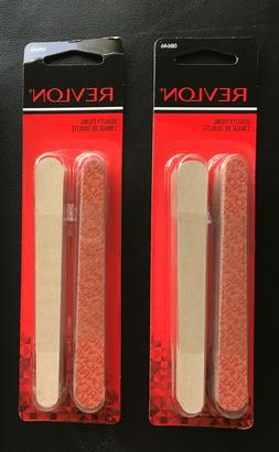 2 NIP Revlon Compact Emery Boards Nail File Dual Sided 24 Ct