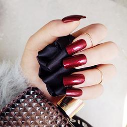 24ps Specular Reflection Vampire Red False Nails Long Nail A