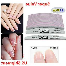25pcs Nail Files 100/180 Double Sided Sanding Buffer Manicur