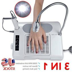 35000 RPM Pro Nail Drill Bits Dust Collector Desk Lamp 3-in-