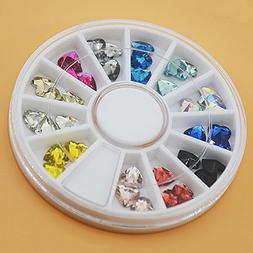 1 Pack 12-Color 3D Acrylic Heart Shape Crystal Nail Art Rhin