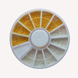 1 Pack 3D Silver Gold Circle Bead Caviar Crystal Nail Art Rh
