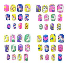 JPACO 4 PACK Unicorn False Nails Pre-Glue for Kids