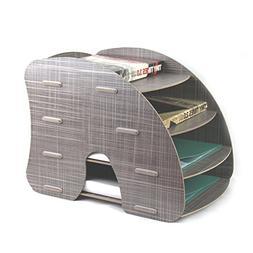 Oak-Pine 4 Tier Detachable Wooden Grain Design Desk A4 File