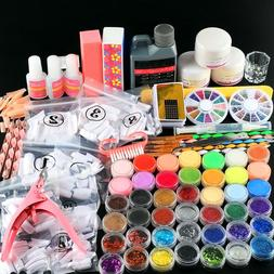 42Pc Acrylic Powder Nail Powder Glitter Acrylic Clipper Liqu