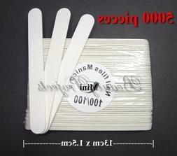 5,000pcs Mini Manicure Nail File White 100/100 Grit Wood Cen