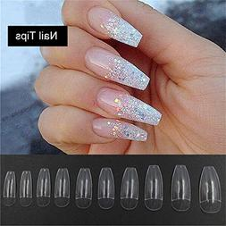 500PCS Long Ballerina Half Nail Tips Clear Coffin False Nail