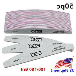 50pc EZGO Nail Files 100/180 Grit Double Sided Sanding Buffe