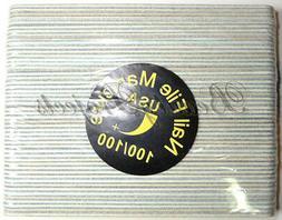 50pcs Mini Manicure Nail File Zebra 100/100 Grit Wood Center