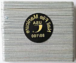 50pcs Mini Manicure Nail File Zebra 80/100 Grit Wood Center