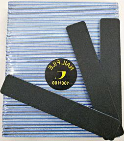 "50pc Nail File Black Jumbo 100/100 Grit Square Shape 7x1"" Pl"