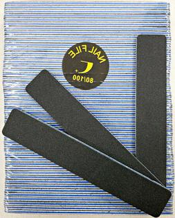 "50pcs Nail File Black Jumbo 80/100 Grit Square Shape 7x1"" Pl"
