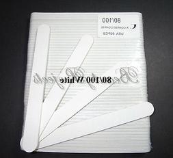 Professional 80/100 Grit White Acrylic Nail Files Plastic C