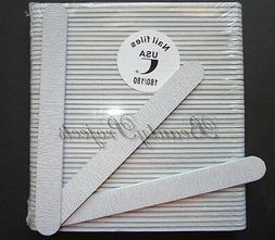 50pcs Professional Acrylic Nail File 180/180 Grit Zebra Sand