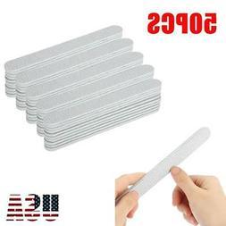 50pcs Professional Acrylic Nail File Grit Zebra Sanding File