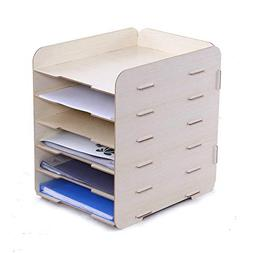 Oak-Pine 6 Tier Detachable Desk File Rack Wood Grain Design