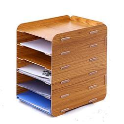 Oak-Pine 6 Tier Detachable Wooden Grain Design Desk A4 File