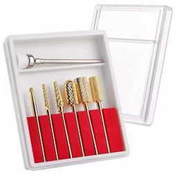 Makartt 7Pcs New Gold Carbide Nail Drill Bit Set Professiona