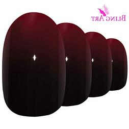 Bling Art Oval False Nails Fake Acrylic Glossy Red Black 24