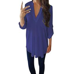 Clearance Women's Casual Solid Color Long-Sleeved V-Neck Shi