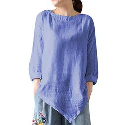 Clearance Women's Cotton Linen Long-Sleeved Top Summer Vinta