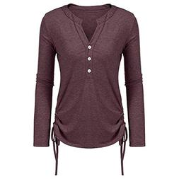 Clearance Women's Solid Color Lace-up Long Sleeve Top Ladies