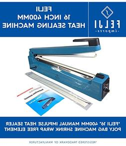 "Felji 16"" 400mm Manual Impulse Heat Sealer Poly Bag Machine"
