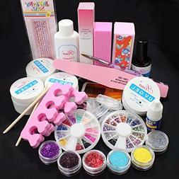 Full Acrylic Nail Art Kit, Misaky Glitter Powder Glue File F