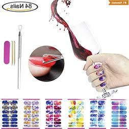 Full Water Nail Sticker with Cuticle Pusher Tool Set, VIWIEU