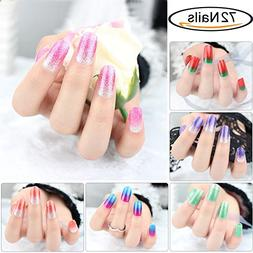Glitter Adhesive Nail Art Tips Stickers Strips for Women Kid