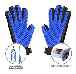 Groompet Pet Grooming Glove Bundle- Pair of Hair Remover Mas