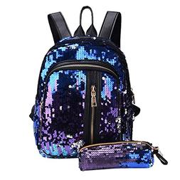 Inverlee Fashion Girl Sequins School Bag Backpack Travel Sho