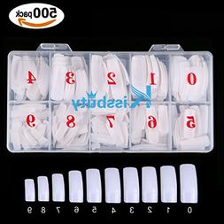 Kissbuty 500 PCS Nails Tips Oval Head Round Fulll Cover Whit