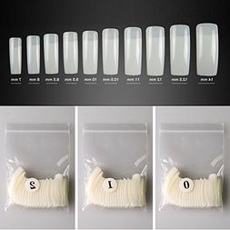 Mobray False Nails,500pcs French Half Pasted Acrylic 10 Size