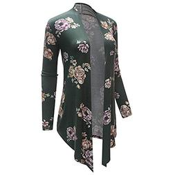 Mose Women Long Sleeve Irregular Print Casual Cardigan Coat