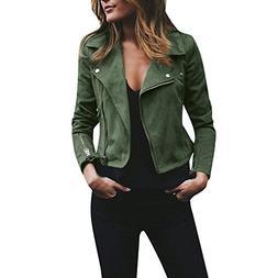 Mose Womens Ladies Retro Rivet Zipper up Bomber Long Sleeve