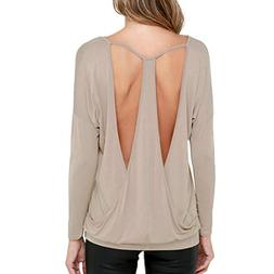 Open Back Tees Top, Clearance Duseedik Women's Casual Full S