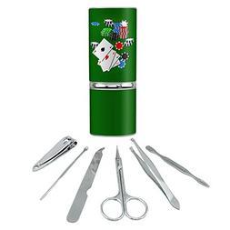 Poker Aces Cards Chips Gambling Stainless Steel Manicure Ped