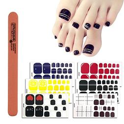 WOKOTO 6 Sheets Self-Adhesive Toe Nail Art Decals And Sticke