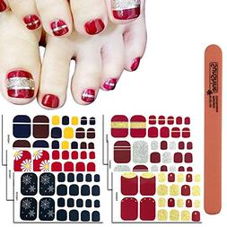 WOKOTO 6 Sheets Toenail Polish Strips Stickers For Women And